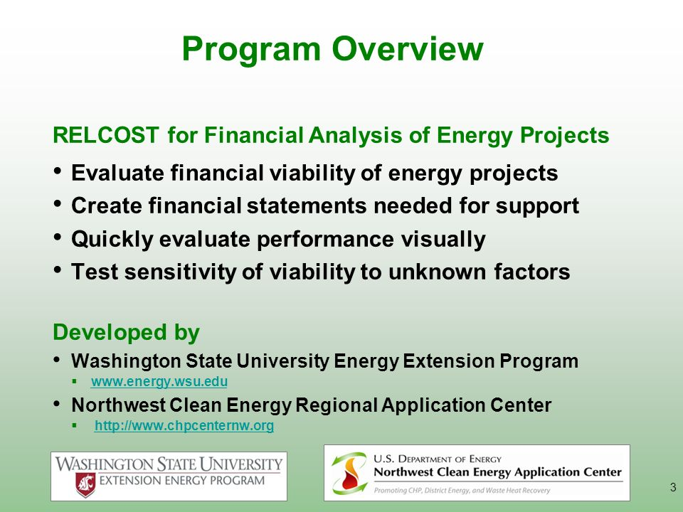 Program Overview RELCOST for Financial Analysis of Energy Projects