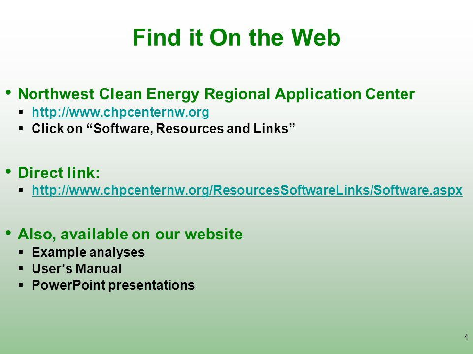 Find it On the Web Northwest Clean Energy Regional Application Center