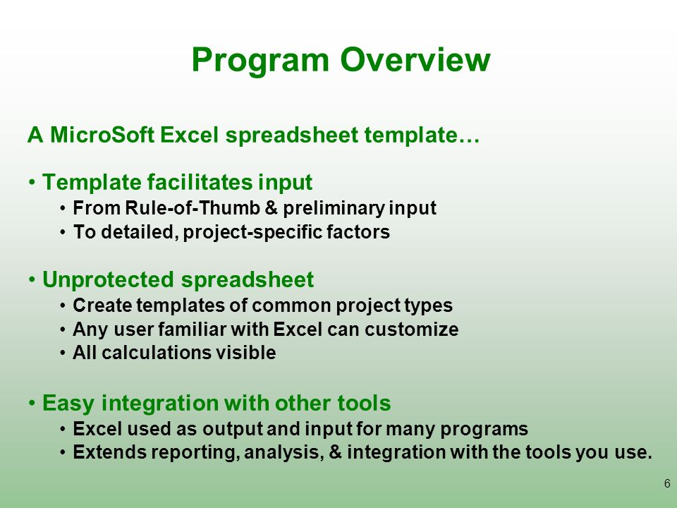 Program Overview A MicroSoft Excel spreadsheet template…