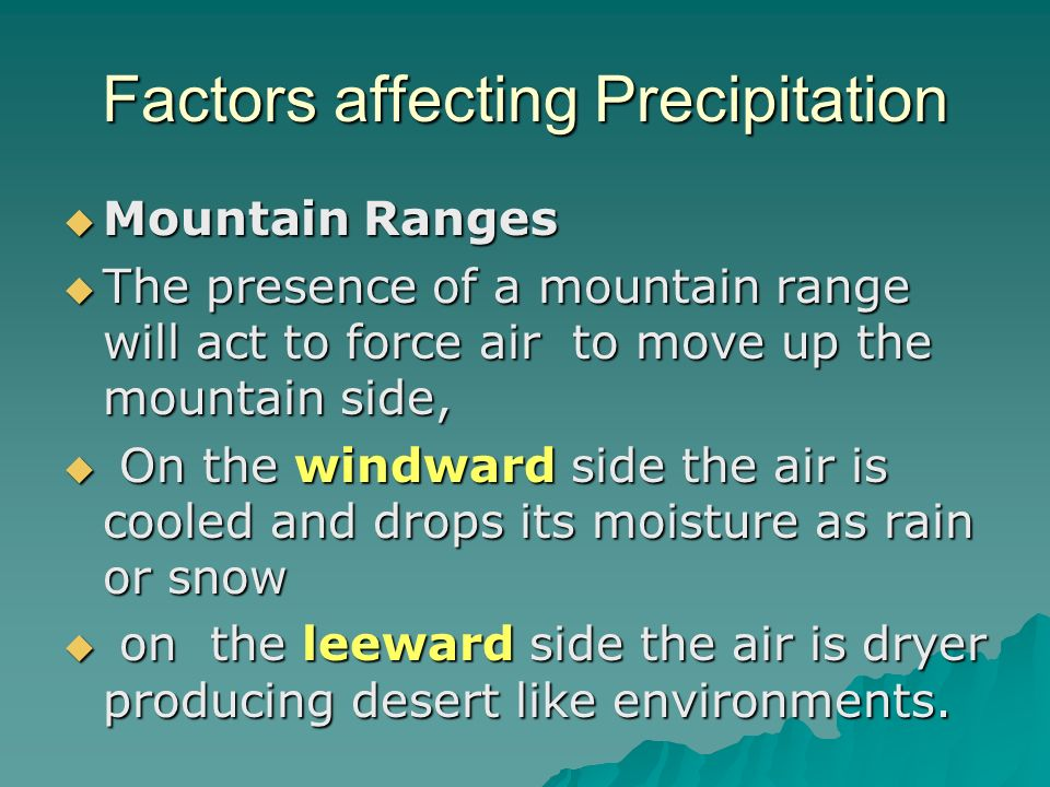 Factors affecting Precipitation