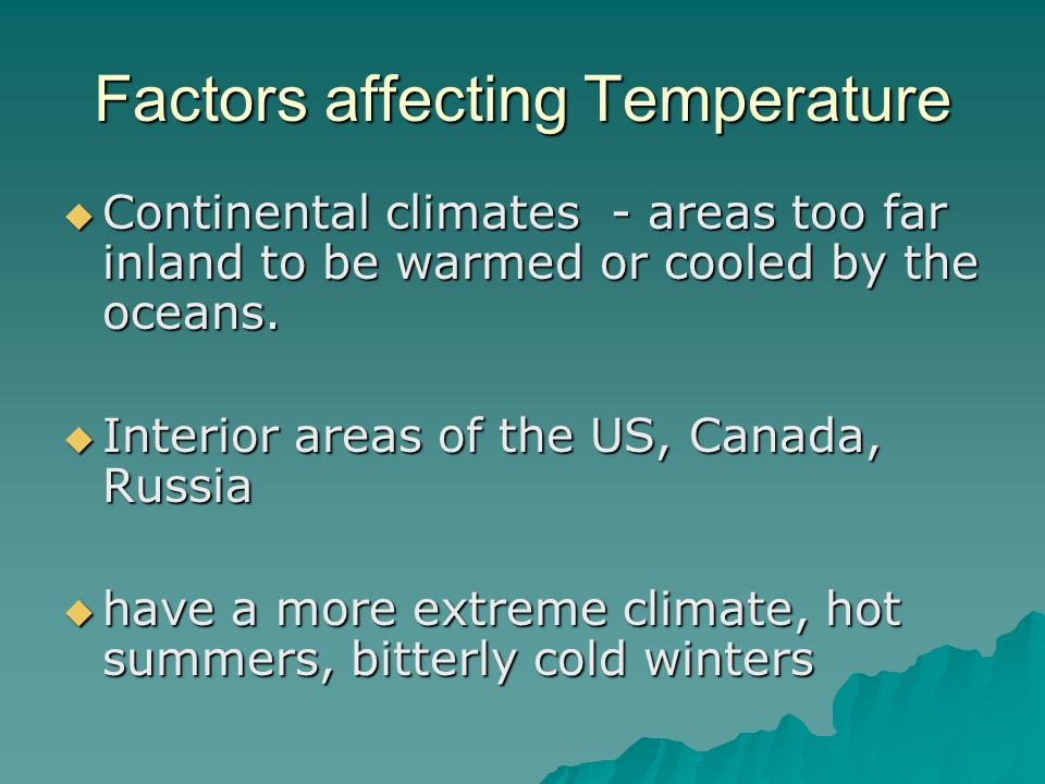 Factors affecting Temperature
