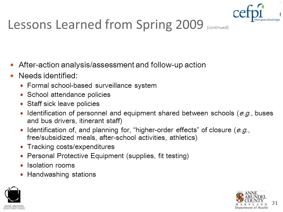 Lessons Learned from Spring 2009 (continued)