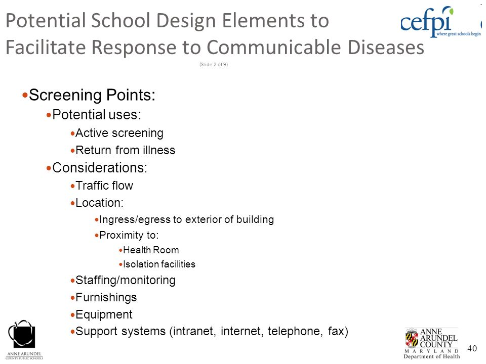 Potential School Design Elements to Facilitate Response to Communicable Diseases (Slide 2 of 9)