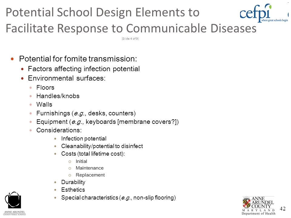 Potential School Design Elements to Facilitate Response to Communicable Diseases (Slide 4 of 9)