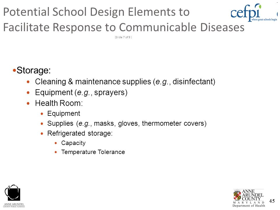 Potential School Design Elements to Facilitate Response to Communicable Diseases (Slide 7 of 9 )