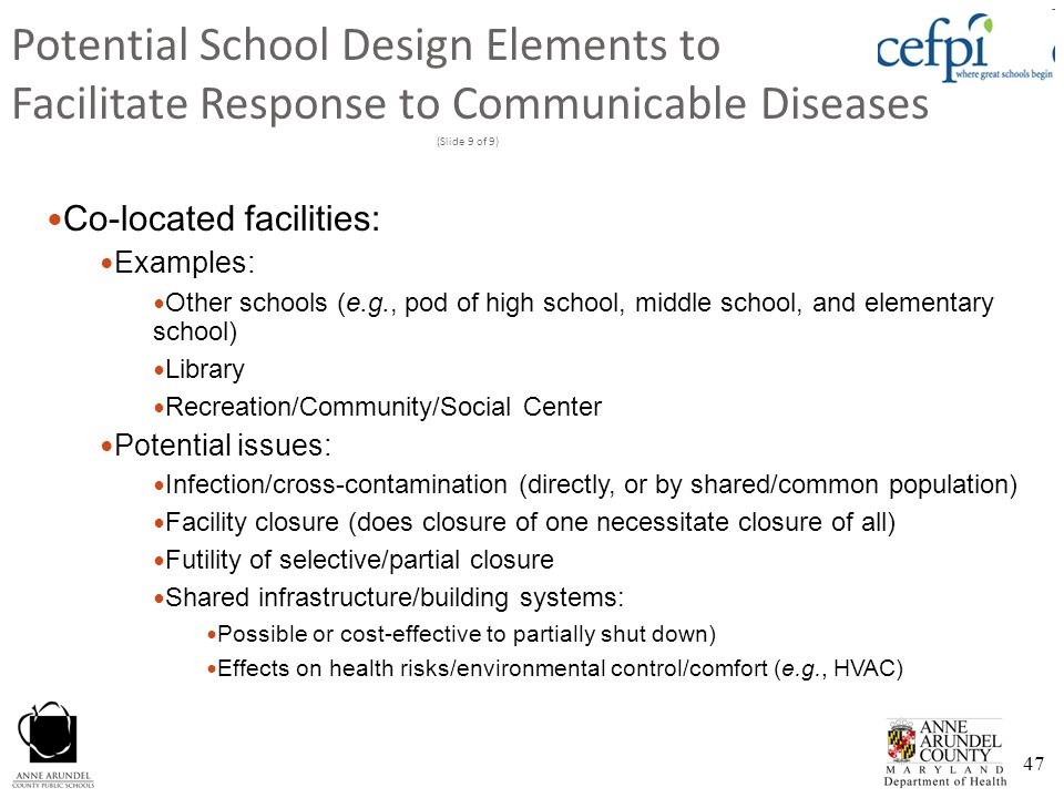Potential School Design Elements to Facilitate Response to Communicable Diseases (Slide 9 of 9)