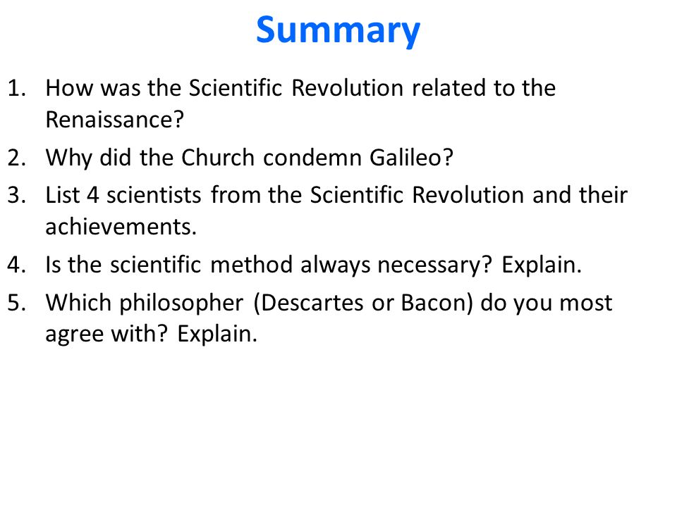 scientific revolution summary