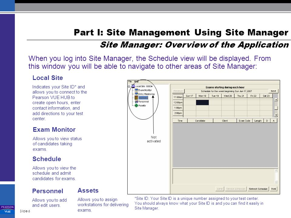 Using Site Manager And Delivery Manager Managing Your Test Center