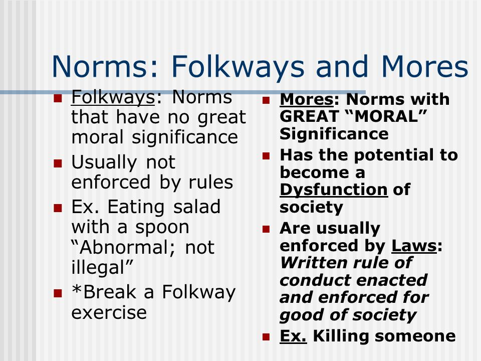 what are mores in sociology