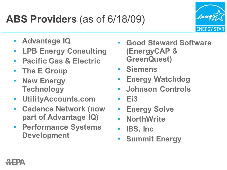 ABS Providers (as of 6/18/09)