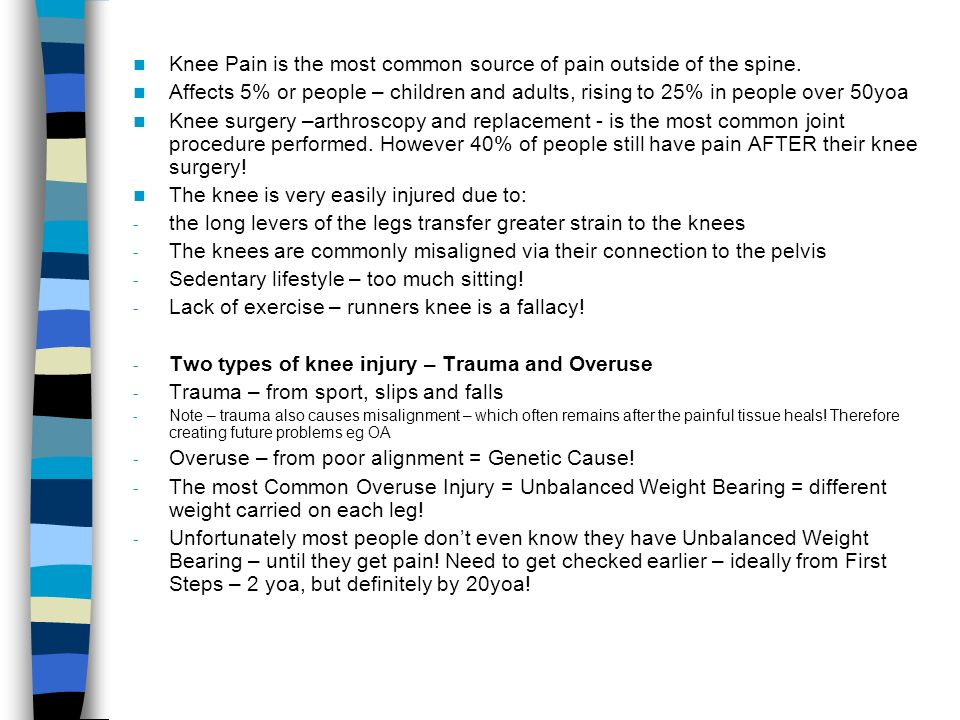Knee Pain is the most common source of pain outside of the spine.