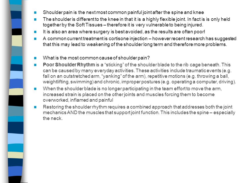 Shoulder pain is the next most common painful joint after the spine and knee