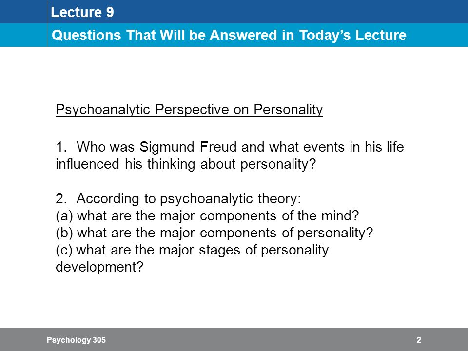 Psychology 305: Theories of Personality - ppt video online