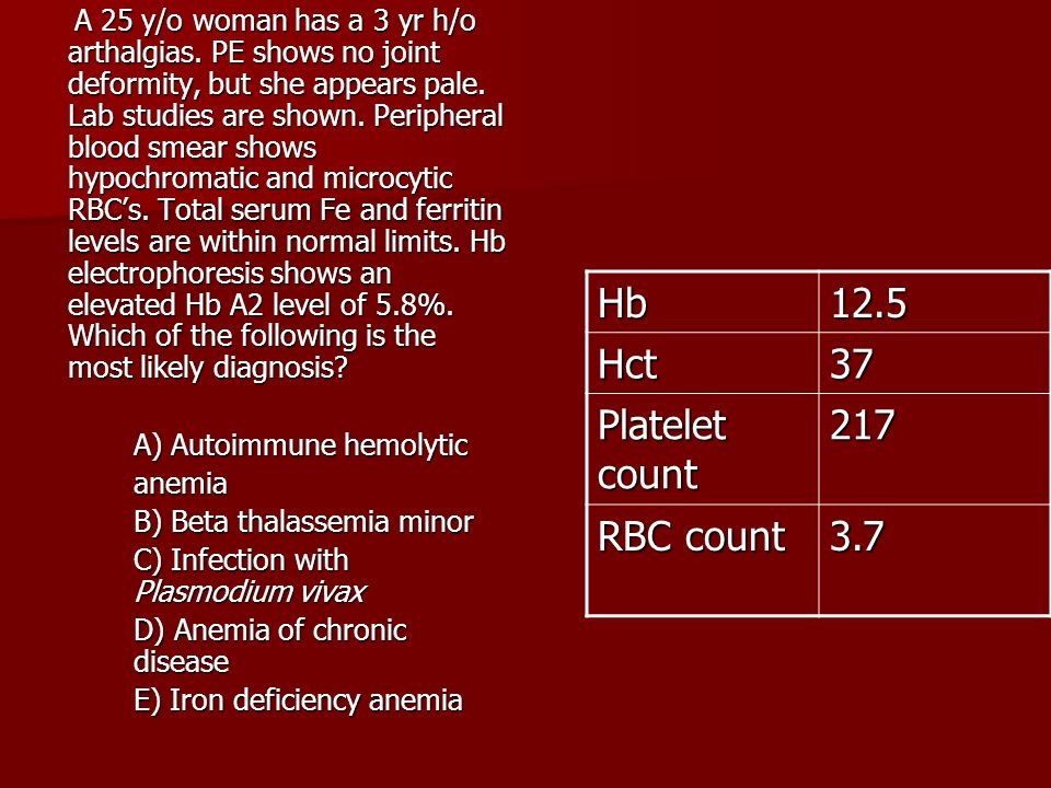 Hb 12.5 Hct 37 Platelet count 217 RBC count 3.7