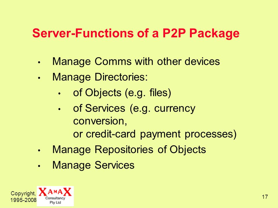 Server-Functions of a P2P Package