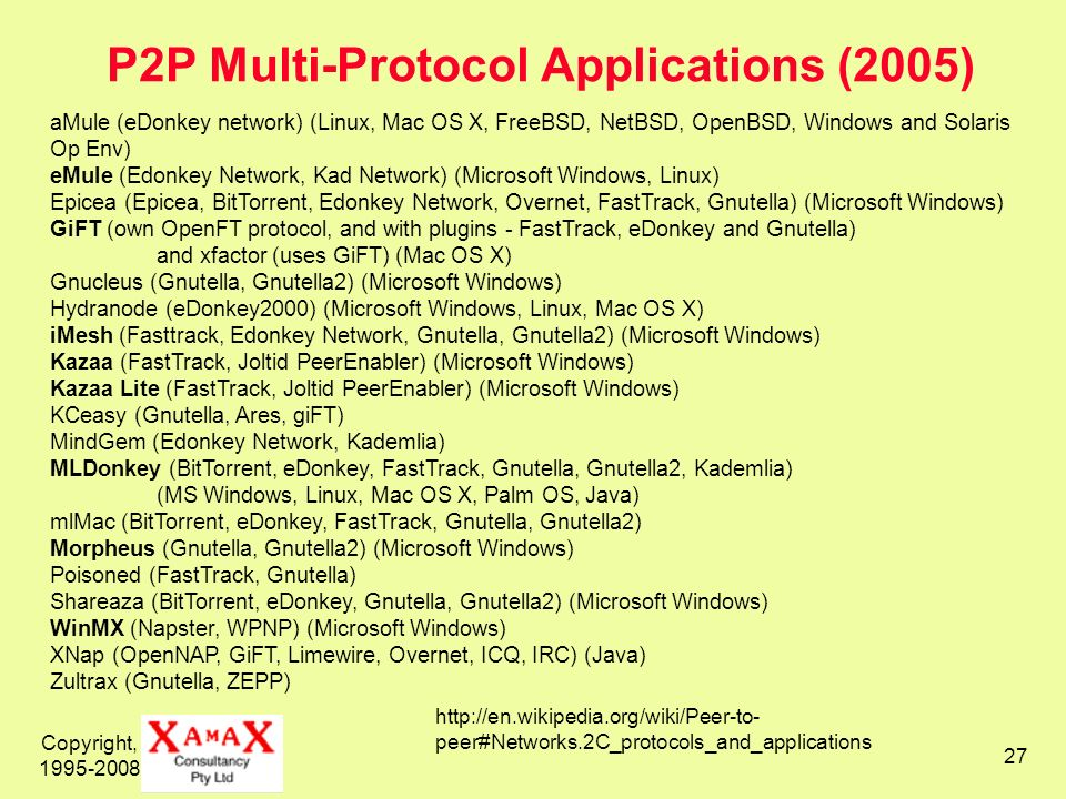 P2P Multi-Protocol Applications (2005)