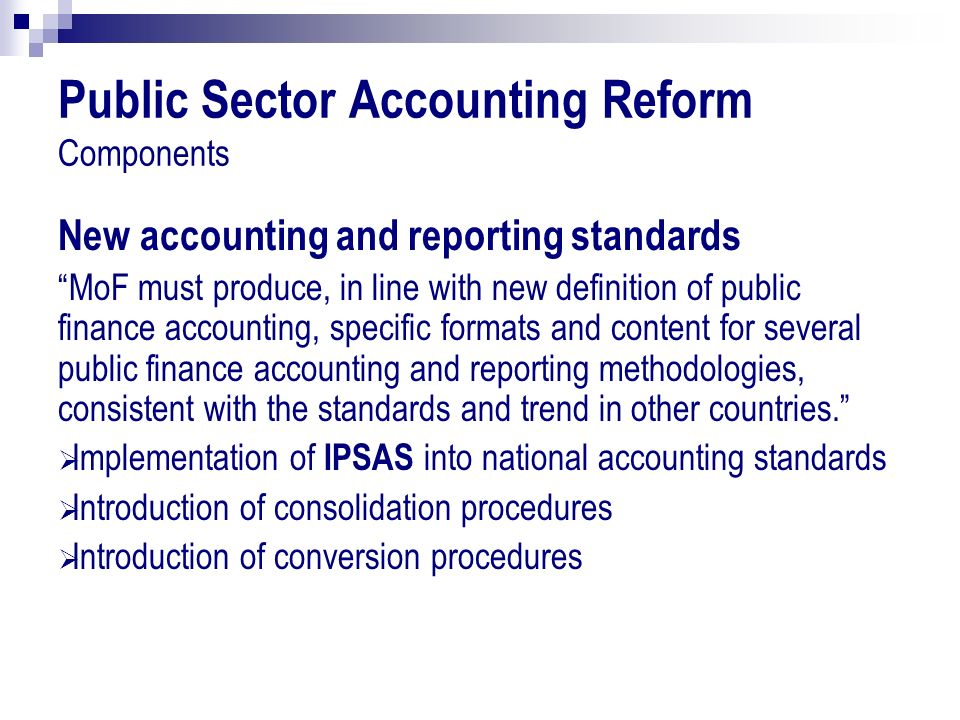 Public Sector Accounting Reform Components