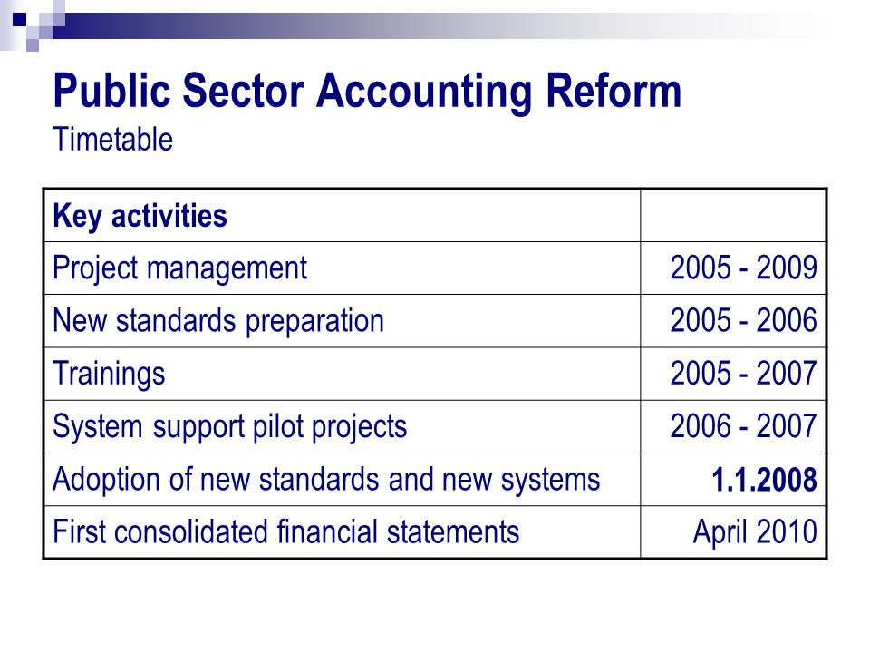 Public Sector Accounting Reform Timetable