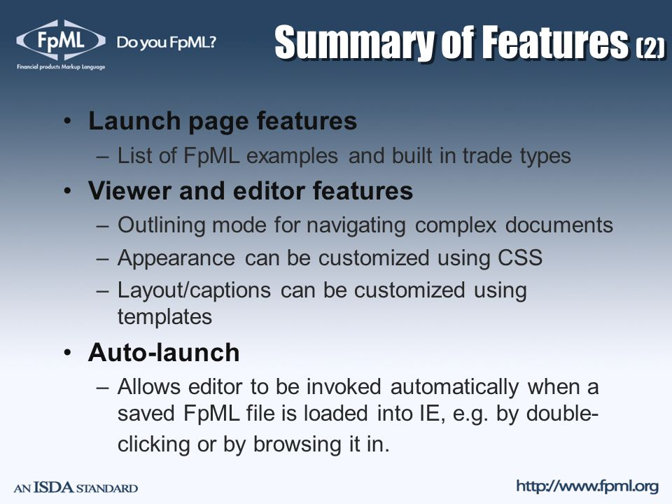 Summary of Features (2) Launch page features