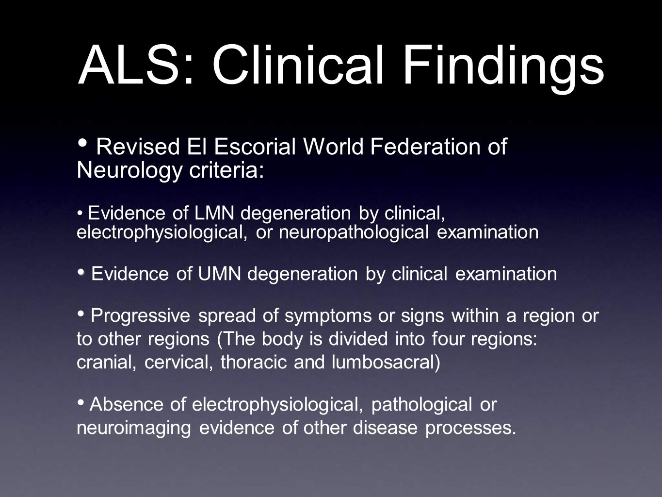 ALS: Clinical Findings