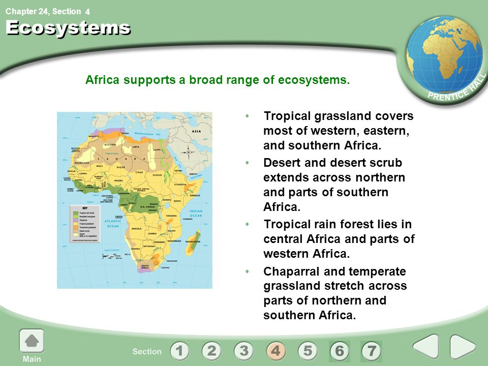 Africa supports a broad range of ecosystems.