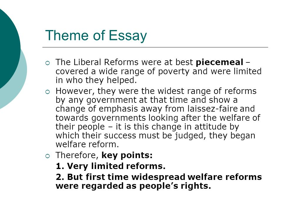 A Modest Proposal Essay Theme Of Essay The Liberal Reforms Were At Best Piecemeal  Covered A Wide  Range Of Example Of Essay Proposal also Thesis Example Essay Liberal Reforms A Success  Ppt Download Thesis Statements For Persuasive Essays