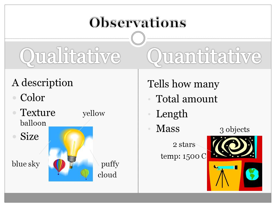 Qualitative Quantitative Observations A description Tells how many