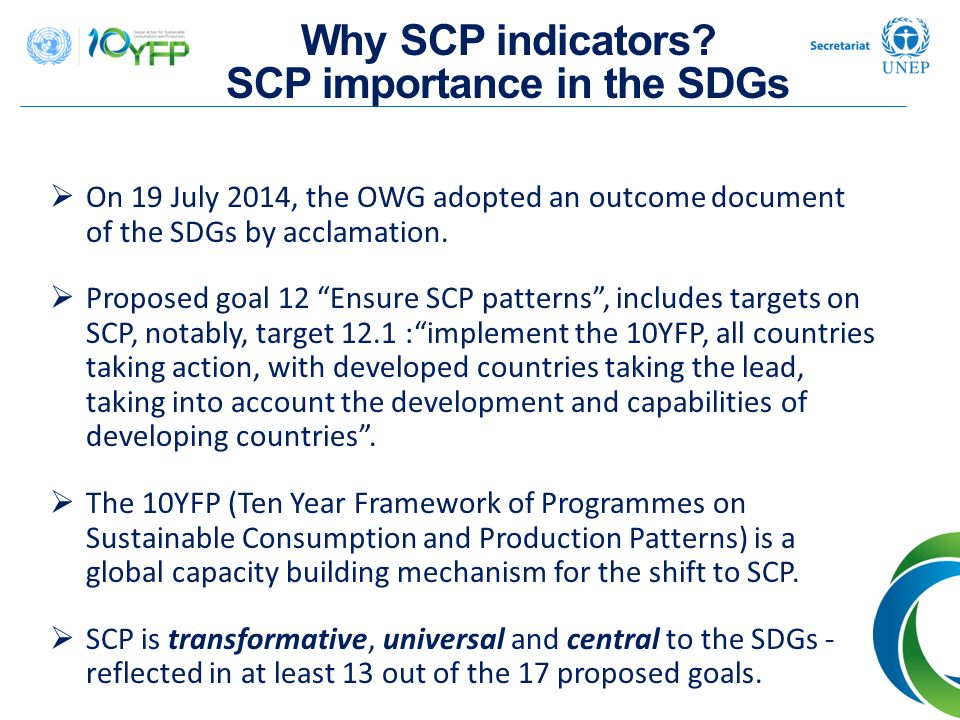 Why SCP indicators SCP importance in the SDGs