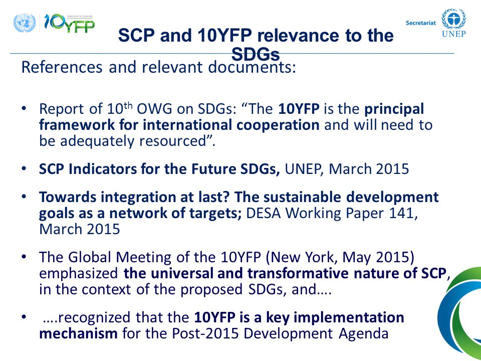 SCP and 10YFP relevance to the SDGs