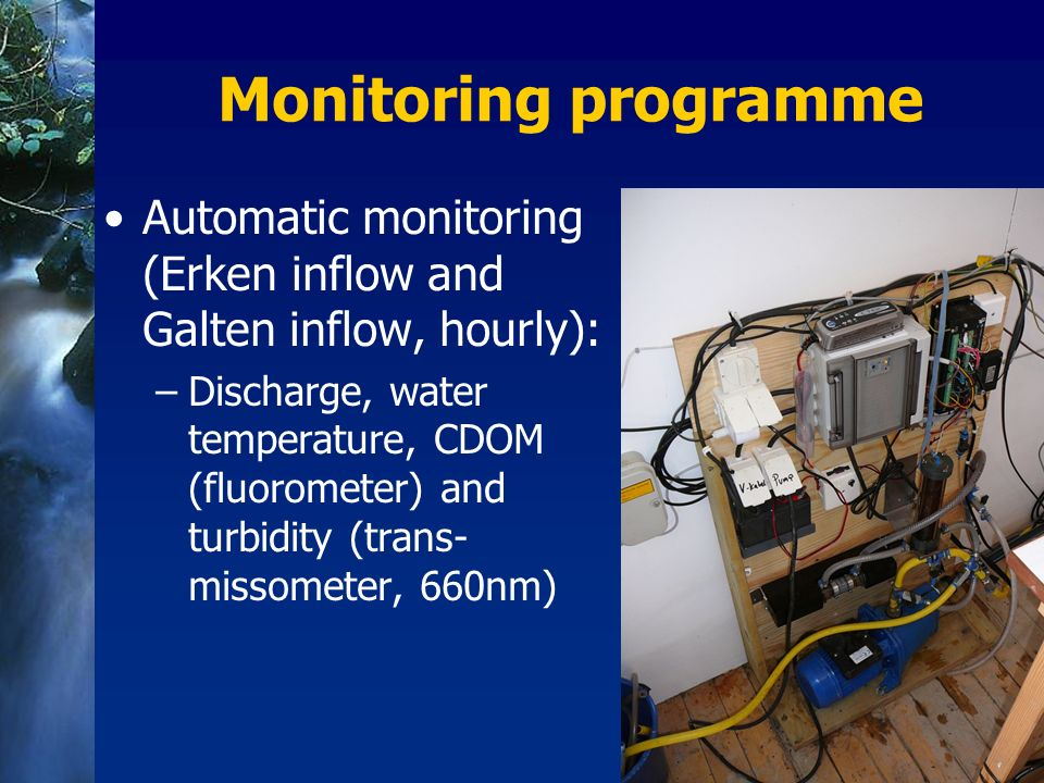 Monitoring programme Automatic monitoring (Erken inflow and Galten inflow, hourly):