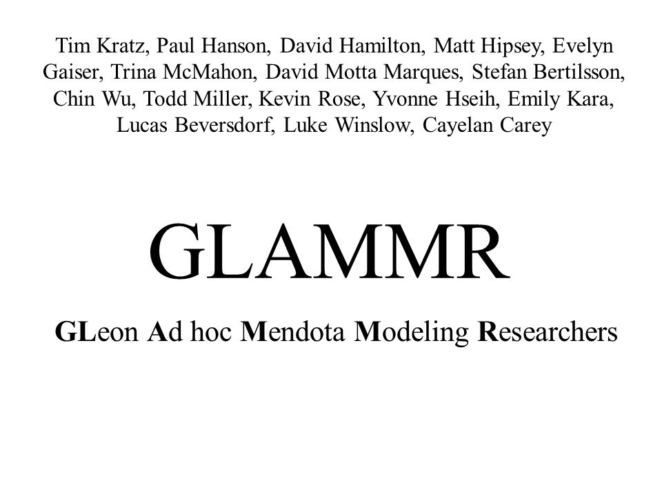 GLeon Ad hoc Mendota Modeling Researchers