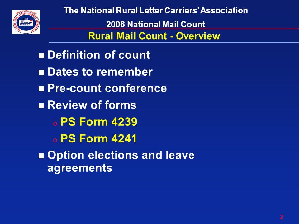 2006 Rural Mail Count & Inspection Training - ppt download
