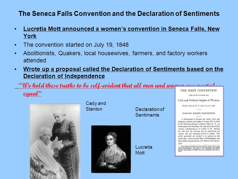 The Seneca Falls Convention and the Declaration of Sentiments
