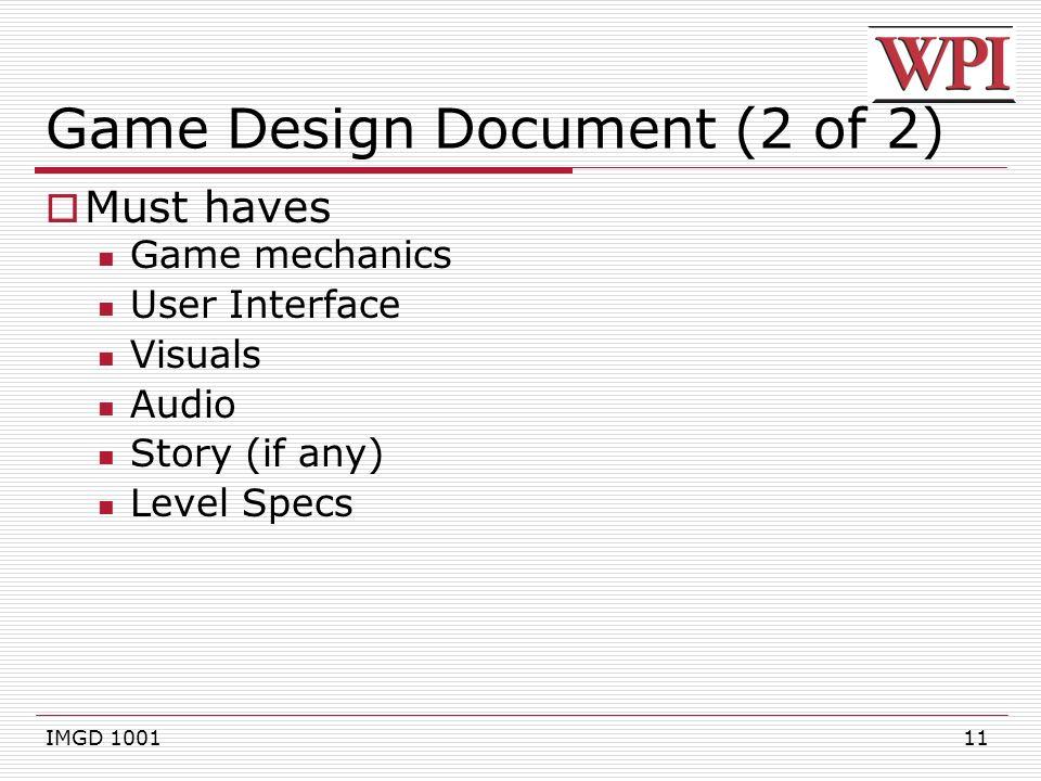 IMGD Game Design Documents Ppt Download - Audio design document