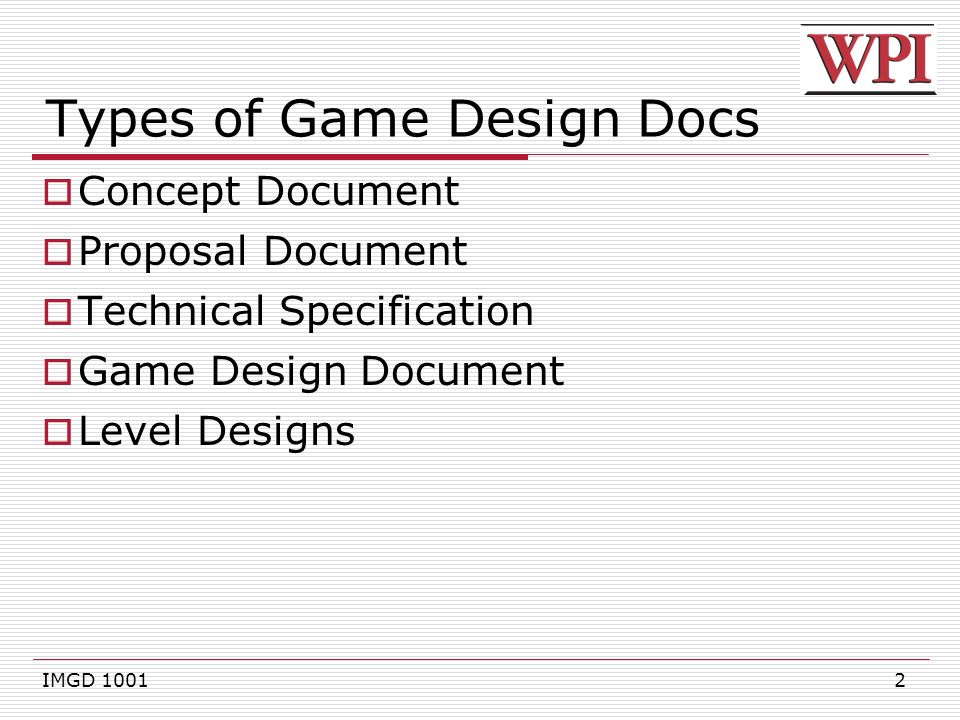 IMGD Game Design Documents Ppt Download - Game technical design document