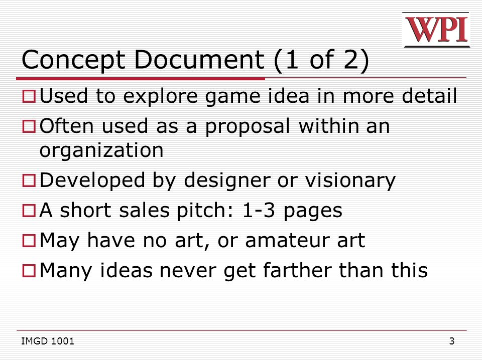 IMGD Game Design Documents Ppt Download - Game concept document