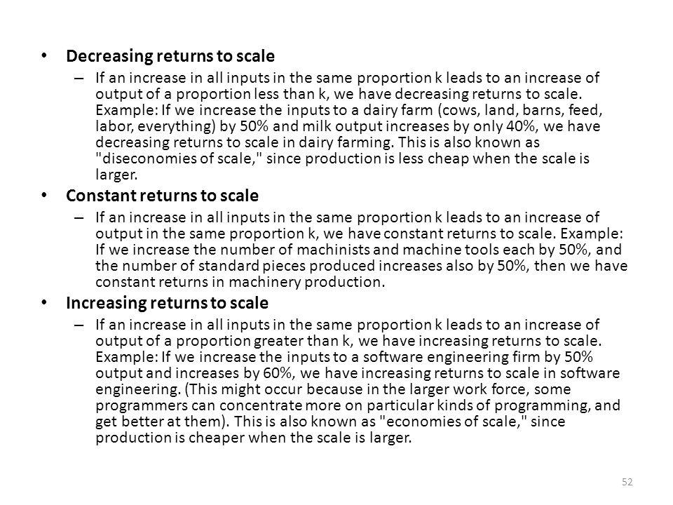 decreasing returns to scale example