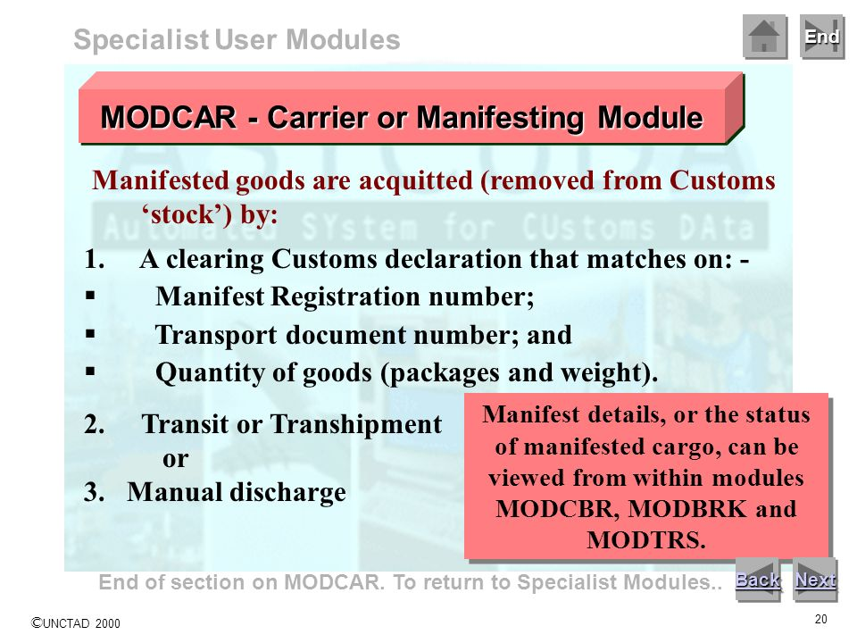 MODCAR - Carrier or Manifesting Module