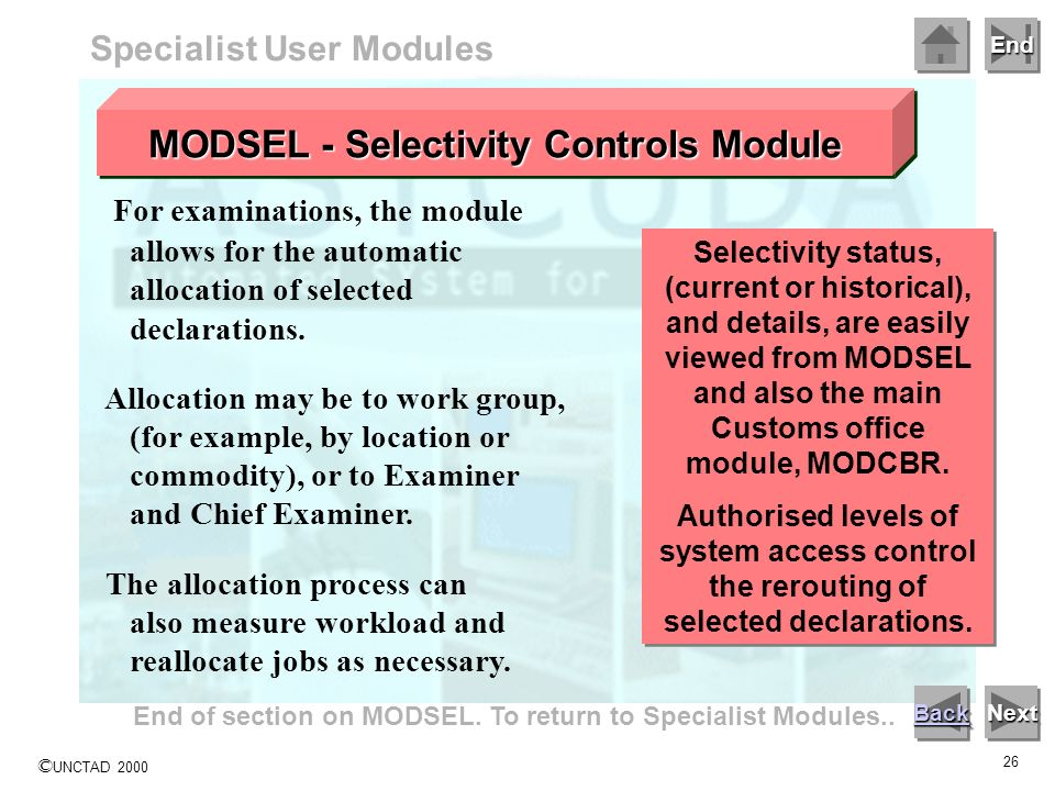 Specialist User Modules