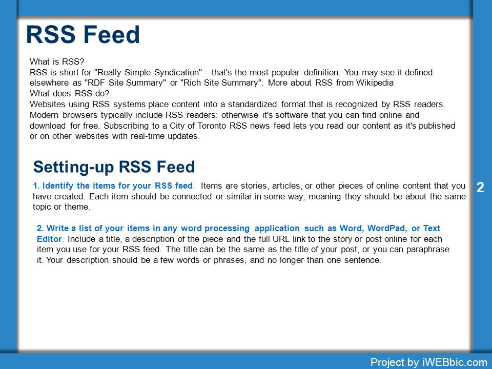 Setting Up an RSS Feed 1 Project by iWEBbic com ppt download