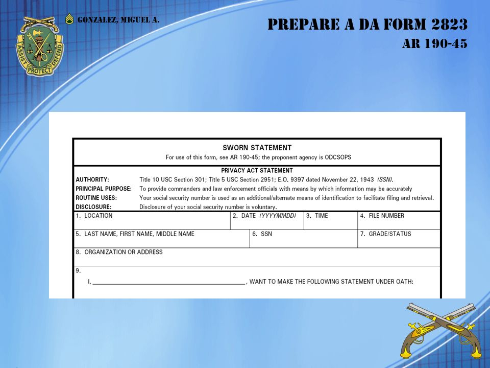 prepare a da form 2823 ar prepare a da form 2823 ar - ppt download