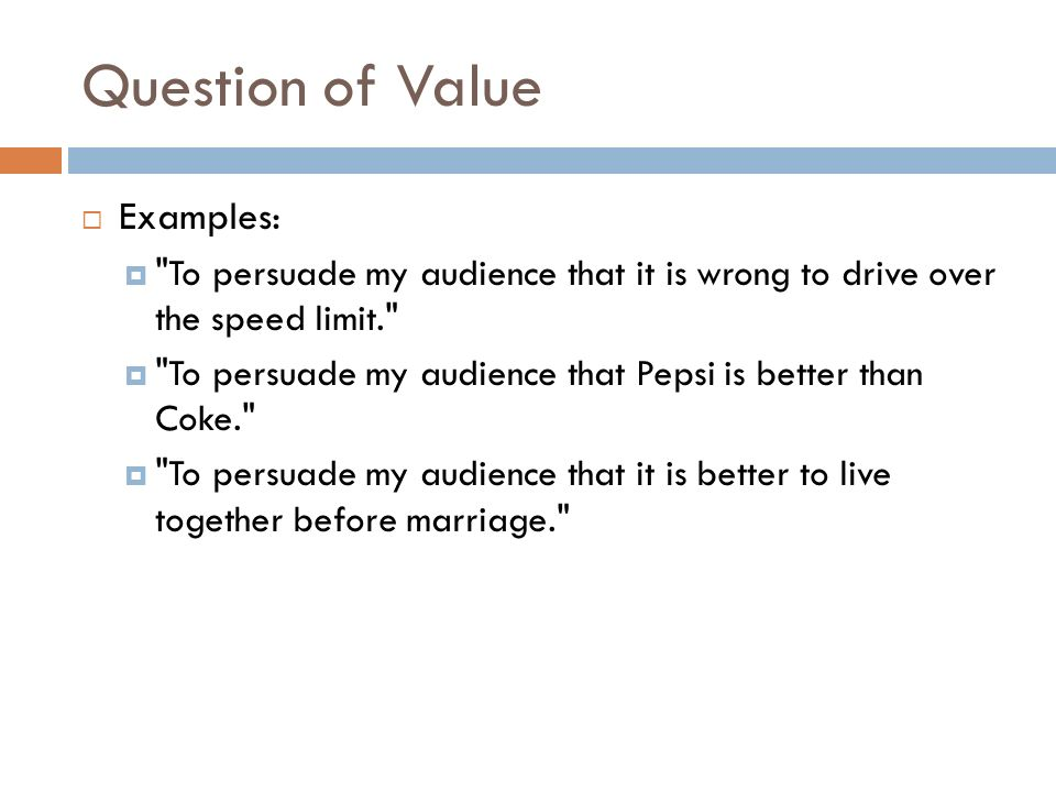 value speech outline