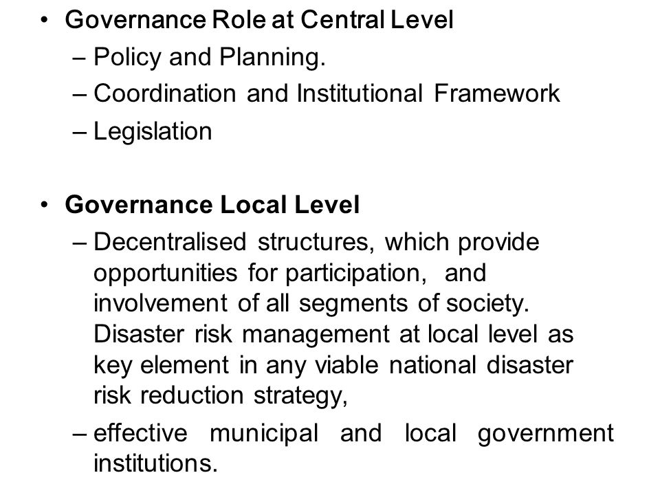 Governance Role at Central Level