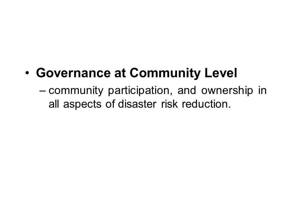 Governance at Community Level