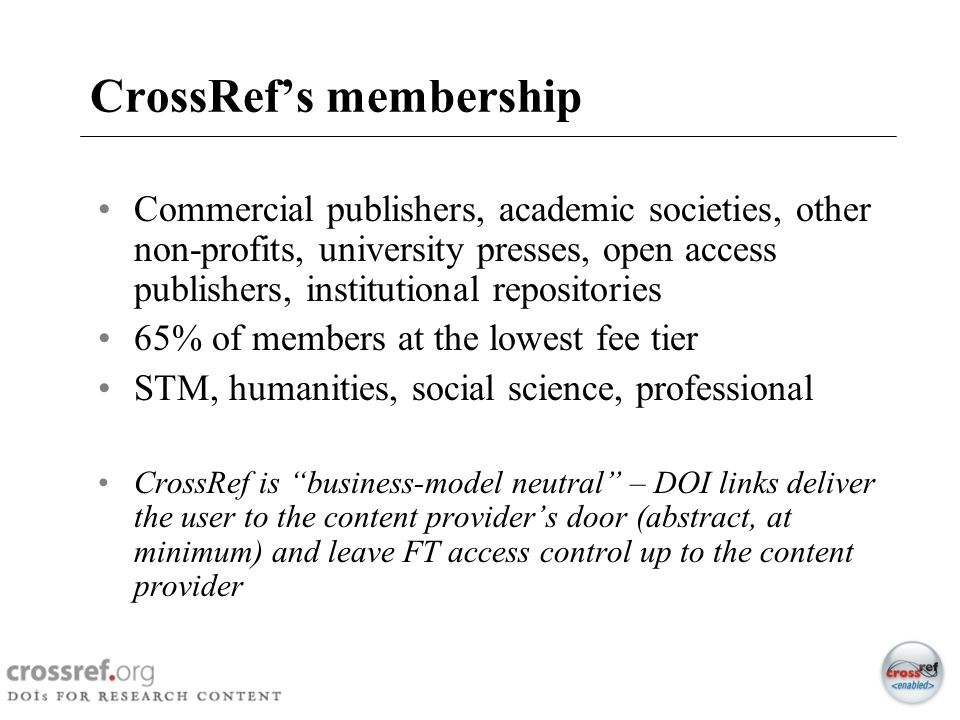 CrossRef's membership