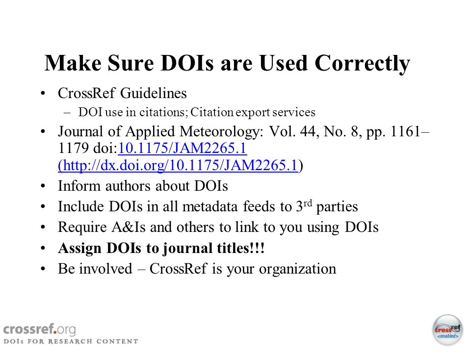 Make Sure DOIs are Used Correctly