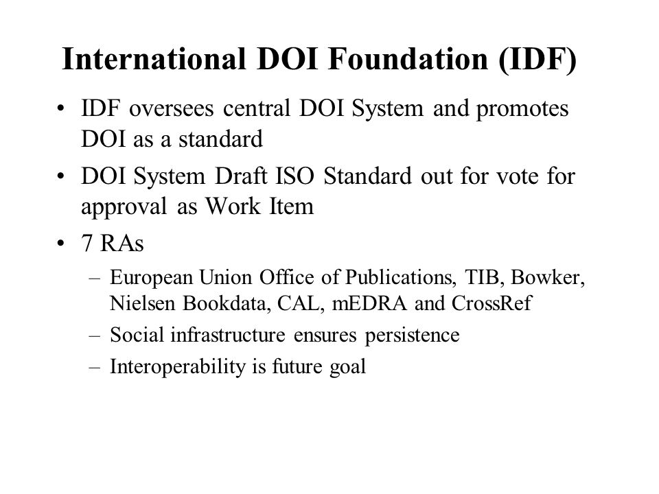 International DOI Foundation (IDF)