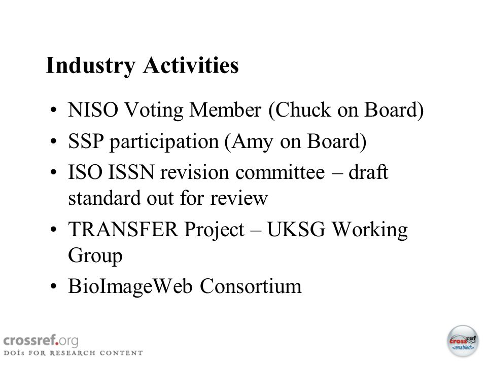 Industry Activities NISO Voting Member (Chuck on Board)