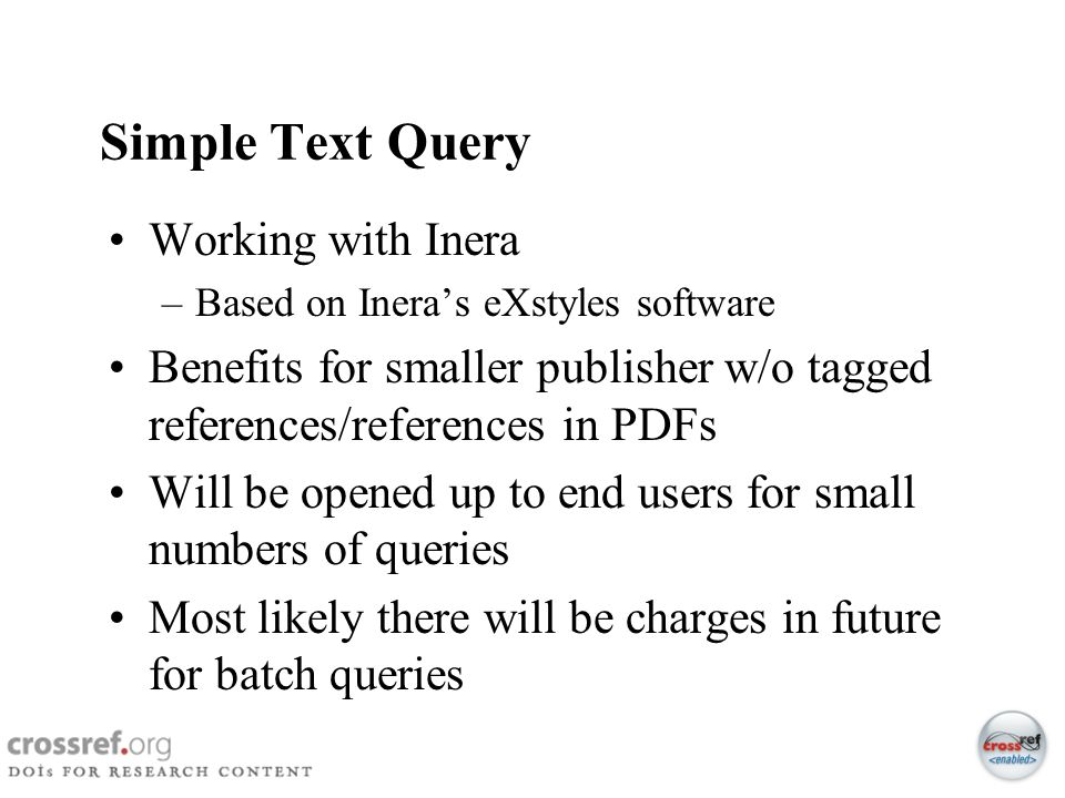 Simple Text Query Working with Inera