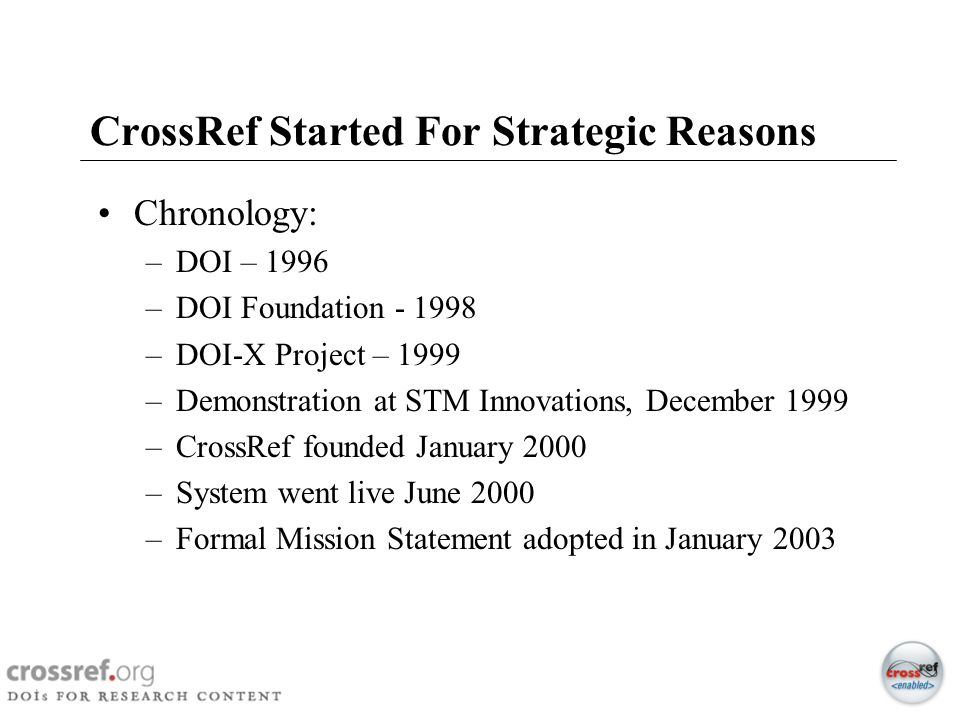 CrossRef Started For Strategic Reasons